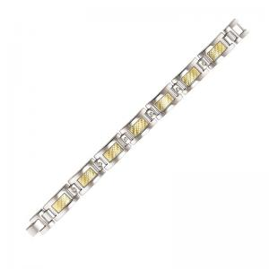 Steel and 18K Inlay Diamond Bracelet 1/5 ctw