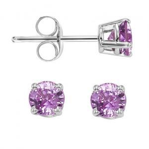 14K Pink Sapphire Studs 4 mm Rd