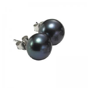 Silver Fresh Water Black Pearl Studs 8 mm