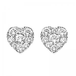 14K Diamond Heart Cluster Earrings 1 ctw