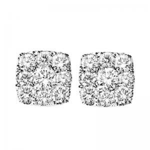 14K Diamond Earrings 1/4 ctw Cushion Shape
