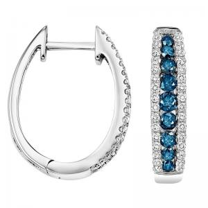 14K Blue & White Diamond Earrings 1 ctw