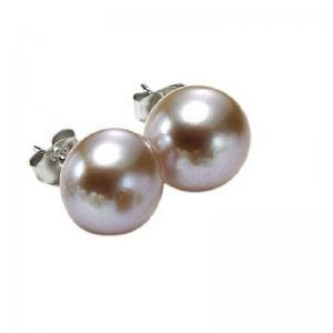 Silver Fresh Water Orange Pearl Studs 8 mm