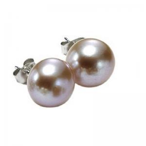 Silver Fresh Water Orange Pearl Studs 8 1/2 mm