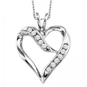 Silver Diamond Heart Pendant