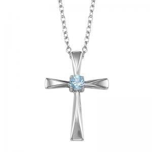 Silver White Topaz Cross Pendant
