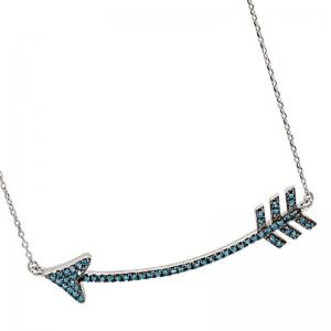 Silver Blue Diamond Arrow Pendant 1/3 ctw