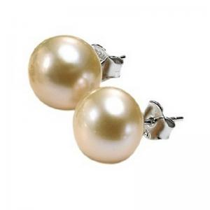 Silver Fresh Water Pink Pearl Studs 8.5 mm