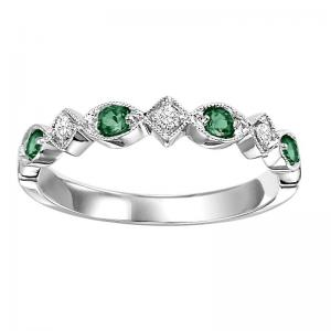 10K Emerald & Diamond Mixable Ring