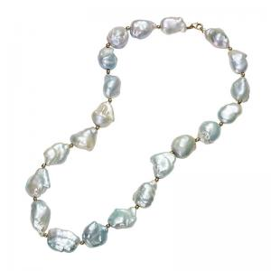 Gold Bead Pearl Necklace