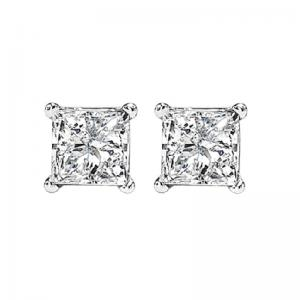 14K P/Cut Diamond Studs 1 ctw P3