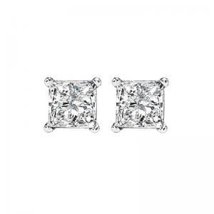 14K P/Cut Diamond Studs 1/2 ctw P1
