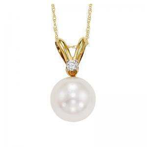 Cultured Pearl & Diamond Pendant 7.5 mm