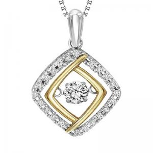 Silver & 10K Yellow & Diamond Rhythm Of Love Pendant 1/3 ctw