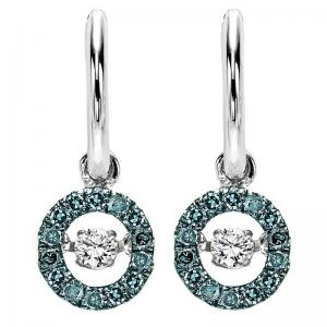 Silver Blue & White Diamond Rhythm Of Love Earrings