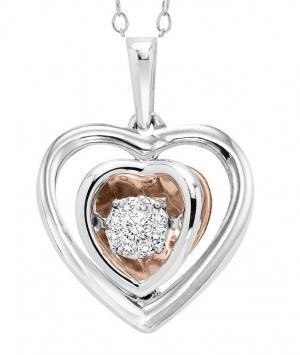 10K & Silver Diamond Pendant 1/7 ctw