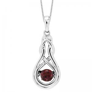 Silver Created Garnet Rhythm Of Love Pendant