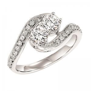 14K Diamond Two Stone Ring 1/2 ctw