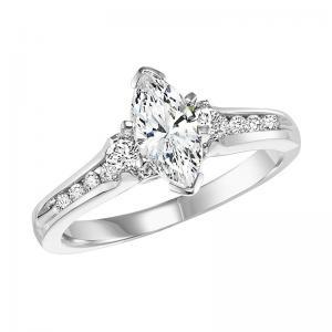 14K Diamond Engagement Ring 1/3 ctw with 3/4 ct Mq Center