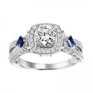 14K Diamond Engagement Ring with Sapphire 1/2 gtw