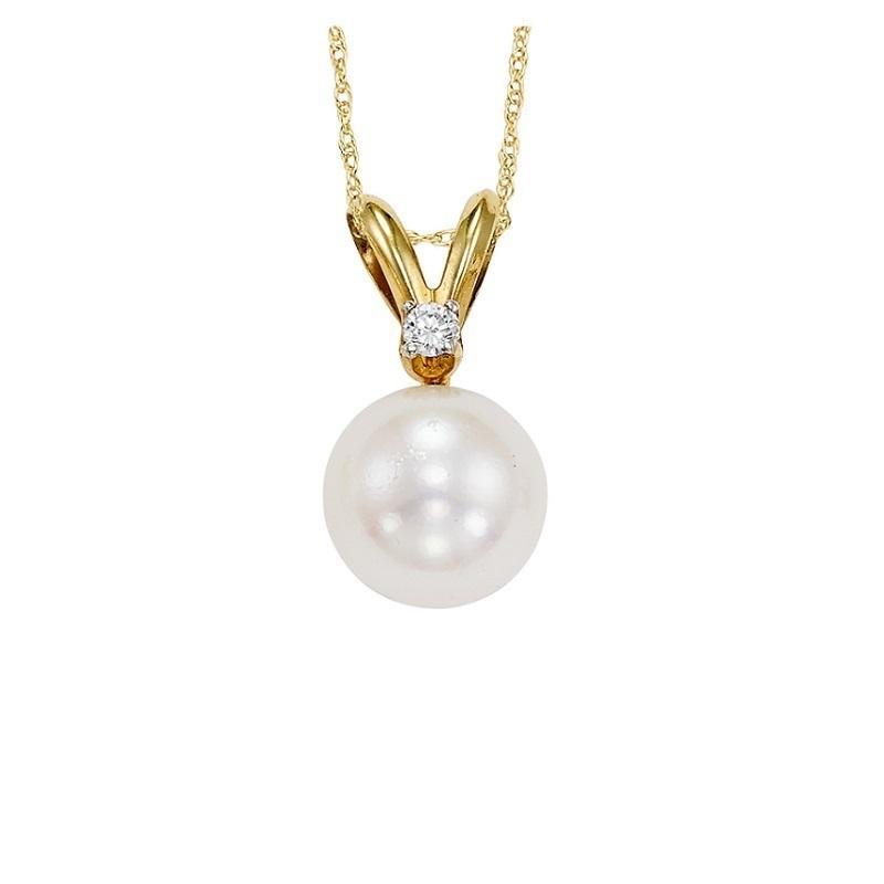 Cultured Pearl & Diamond Pendant 5.5 mm