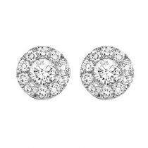 14K Diamond Cluster Earrings 1 ctw Round