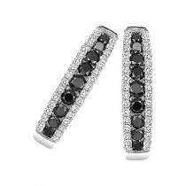 14K Black & White Diamond Earrings 1 ctw