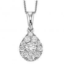 14K Diamond Pendant 1 ctw Pear Shape