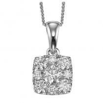 14K Diamond Pendant 1 ctw Cushion Shape