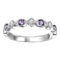 14K Amethyst & Diamond Ring