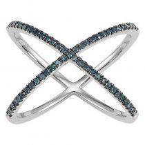 Silver Blue Diamond Cross Ring 1/4 ctw
