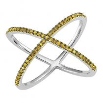 Silver Yellow Diamond Cross Ring 1/4 ctw