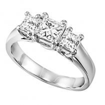 14K P/Cut Diamond 3 Stone Ring 1 1/ 2 ctw