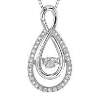 Silver Diamond Rhythm Of Love Pendant 1/10 ctw
