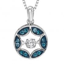 Silver Blue Diamond Rhythm Of Love Pendant