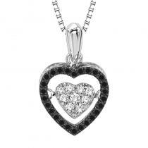 Silver Black Diamond Rhythm Of Love Pendant