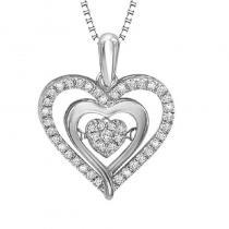 Silver & 10K Diamond Rhythm Of Love Pendant 1/5 ctw