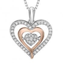 Silver & 10K Rose Gold Diamond Rhythm Of Love Pendant 1/5 ctw