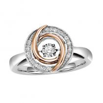 10KP & Silver Diamond Rhythm Of Love Ring 1/10 ctw